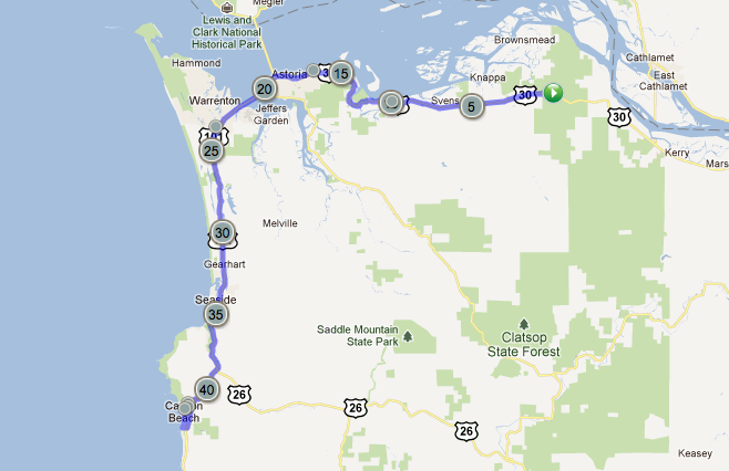 Maps - Bike Around The World Cannon Beach Hotels Map on