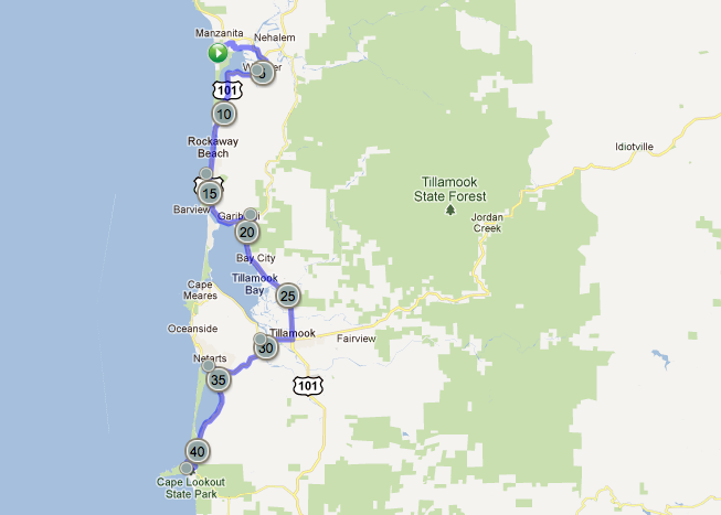Oregon Coast Map Day 4